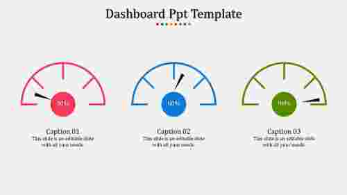 A three noded dashboard PPT template